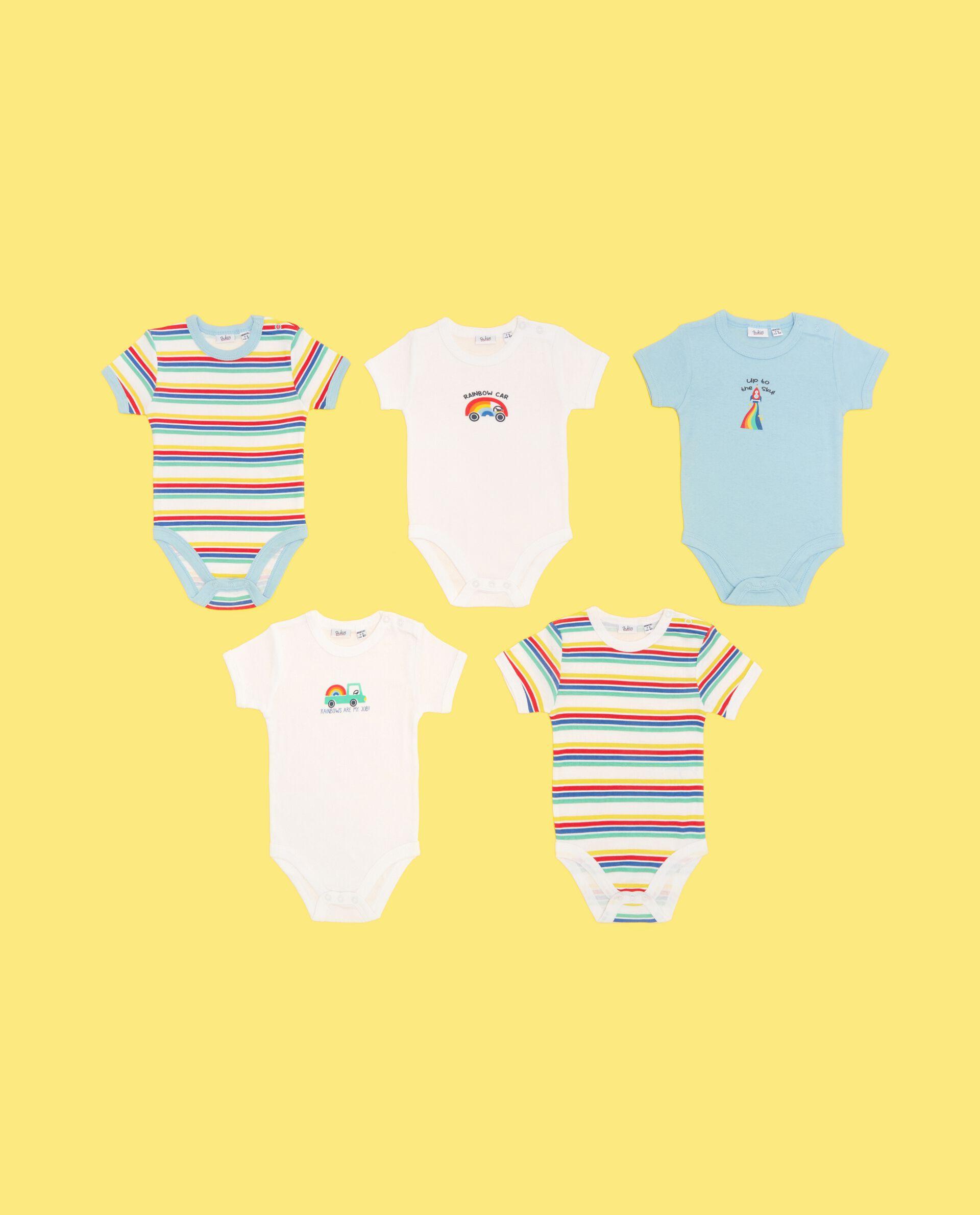 Five pack di body bebè in puro cotone