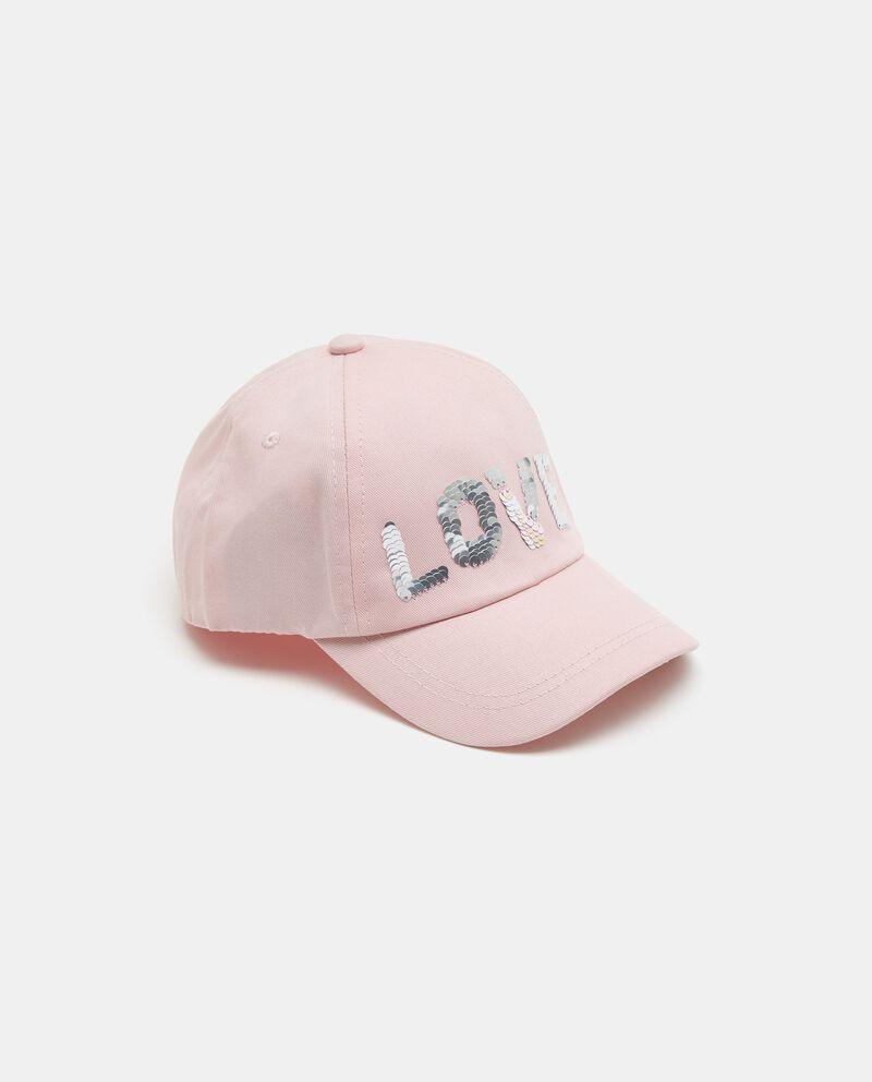 Cappellino baseball rosa con lettering in paillettes bambina