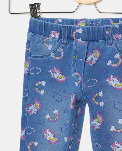 Jeggings in cotone elasticato con fantasia unicorni bambina