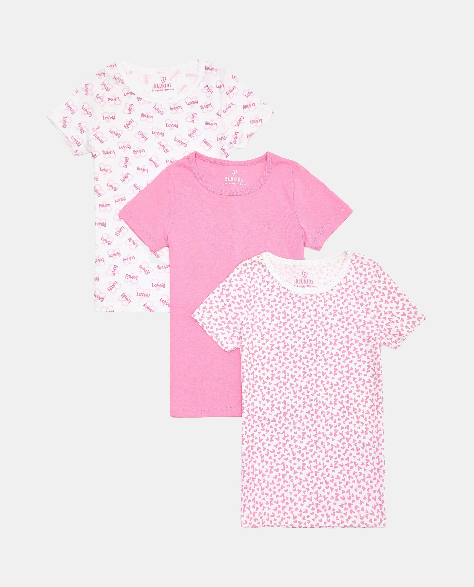Set con 3 t-shirt intime di puro cotone biologico bambina