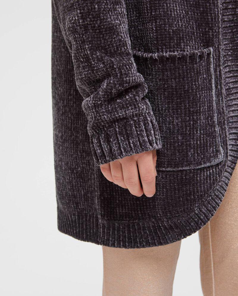 Cardigan tricot tinta unita con tasche