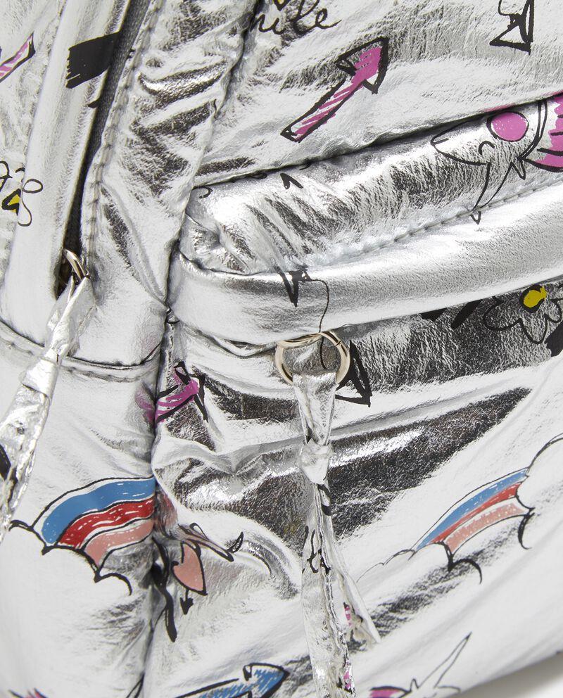 Zainetto effetto metallico con lettering bambina