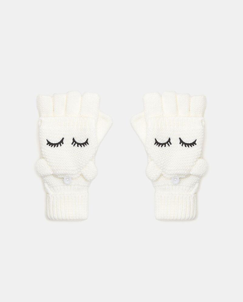 Mezzi guanti muffole con ricamo bambina