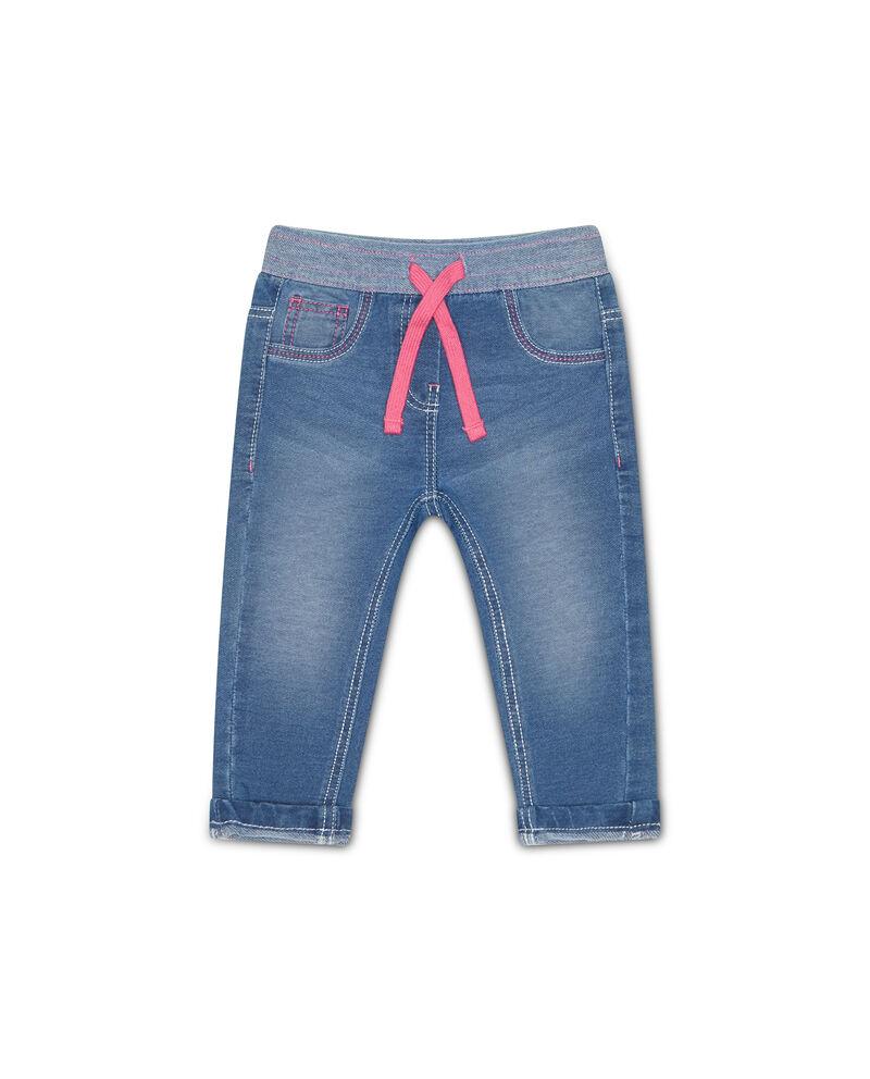 Jeans stretch con vita a contrasto