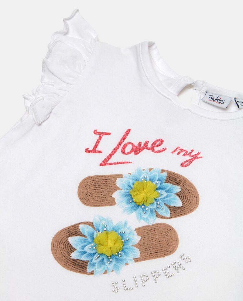 T-shirt in cotone organico con maniche corte a balze neonata