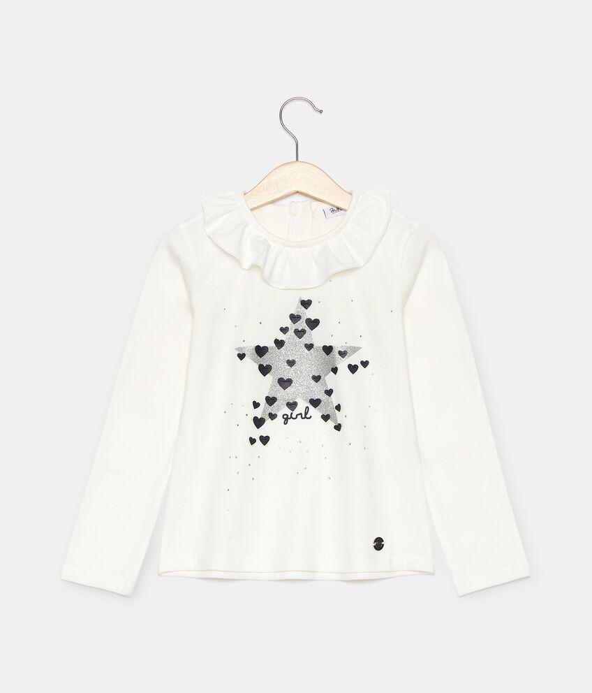 T-shirt in jersey con ruche sul colletto bambina double 1