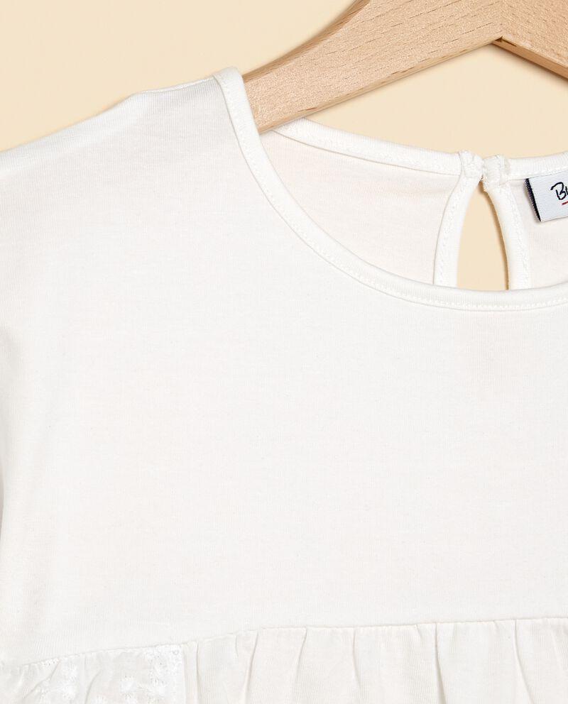 T-shirt in tinta unita con inserti bambina