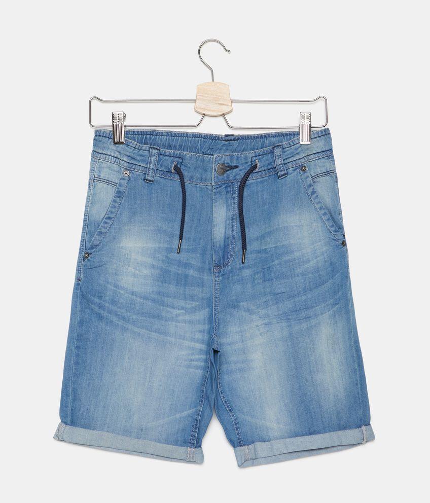 Jeans shorts in puro cotone con cordoncino ragazzo