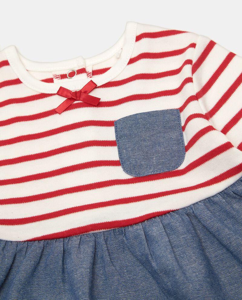 Vestitino a righe con patch neonata