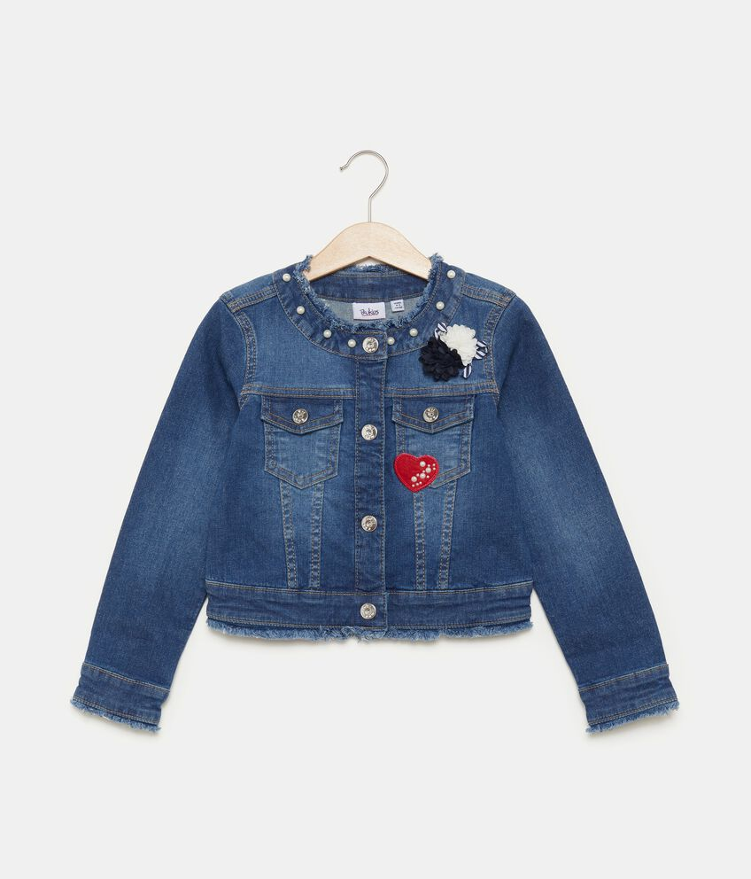Giacca in jeans con perline bambina