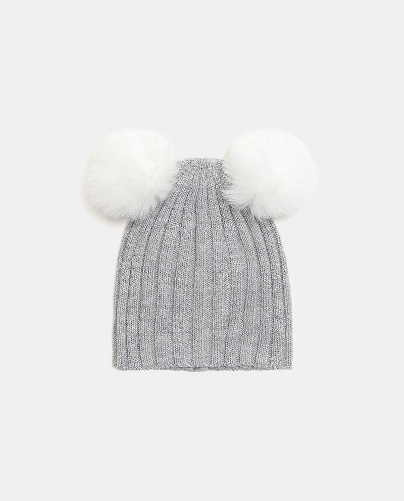 Cappellino con filo lurex e pon pon bambina