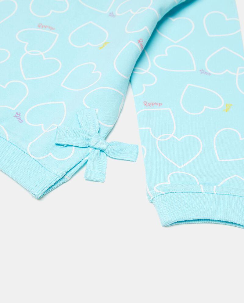 Felpa girocollo di cotone elasticato con fantasia cuori neonata