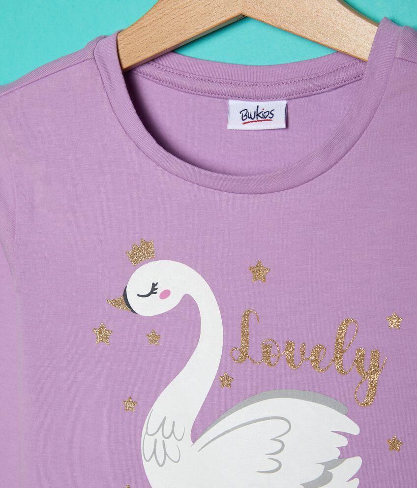 T-shirt con volant e disegno bambina