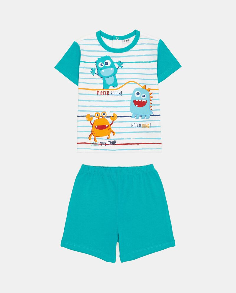 Pigiama t-shirt e shorts righe e mostri