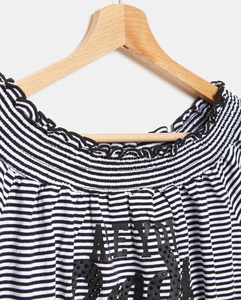 T-shirt con rouches borchie a righe