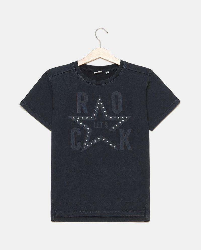 T-shirt girocollo in puro cotone con borchie ragazzo