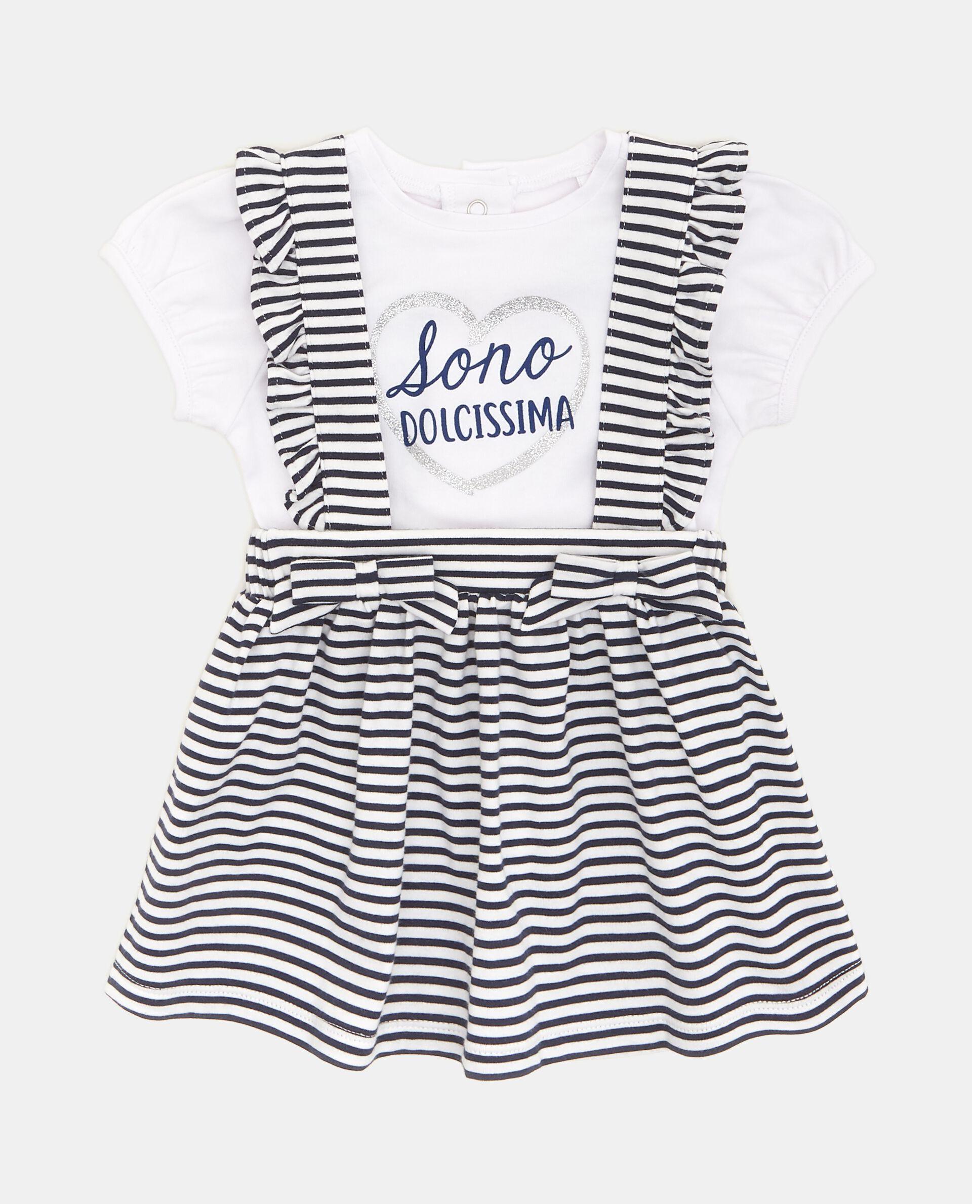 Vestitino con motivo a righe e bretelle neonata