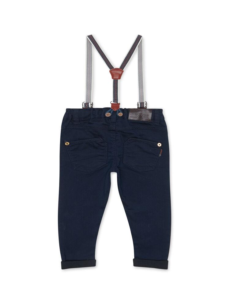 Pantaloni stretch tinta unita con bretelle