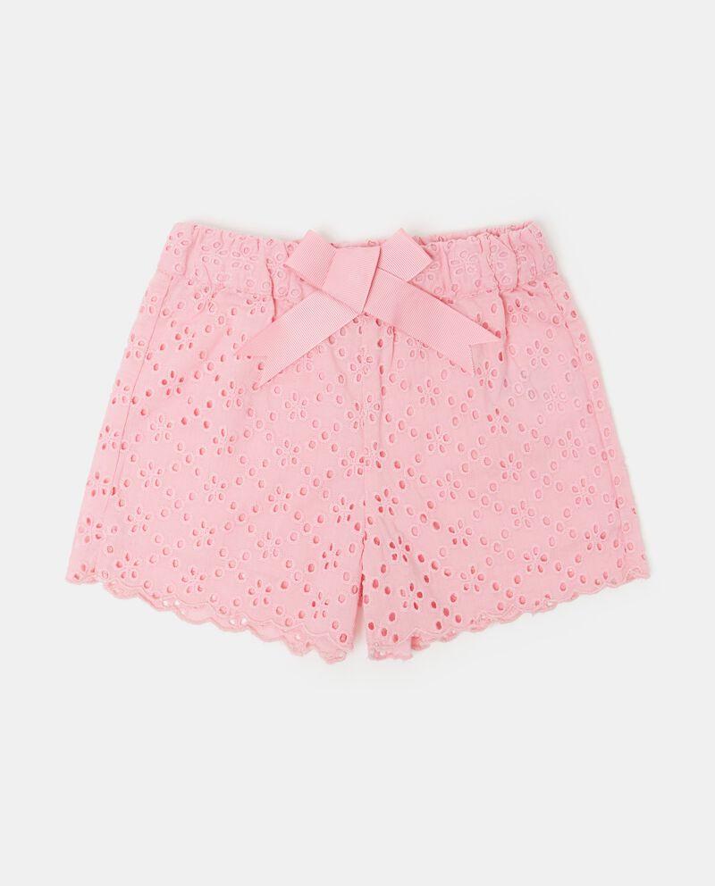 Shorts in tinta unita traforato puro cotone neonata