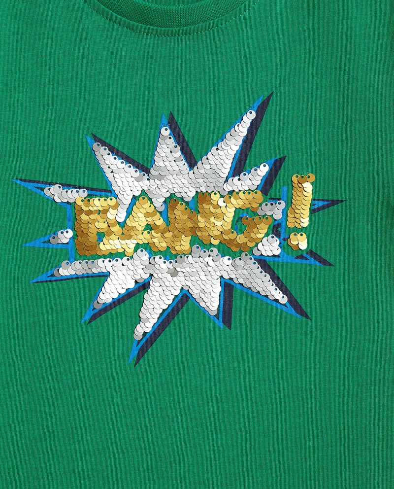 T-shirt cotone organico jersey con paillettes reversibili bambino