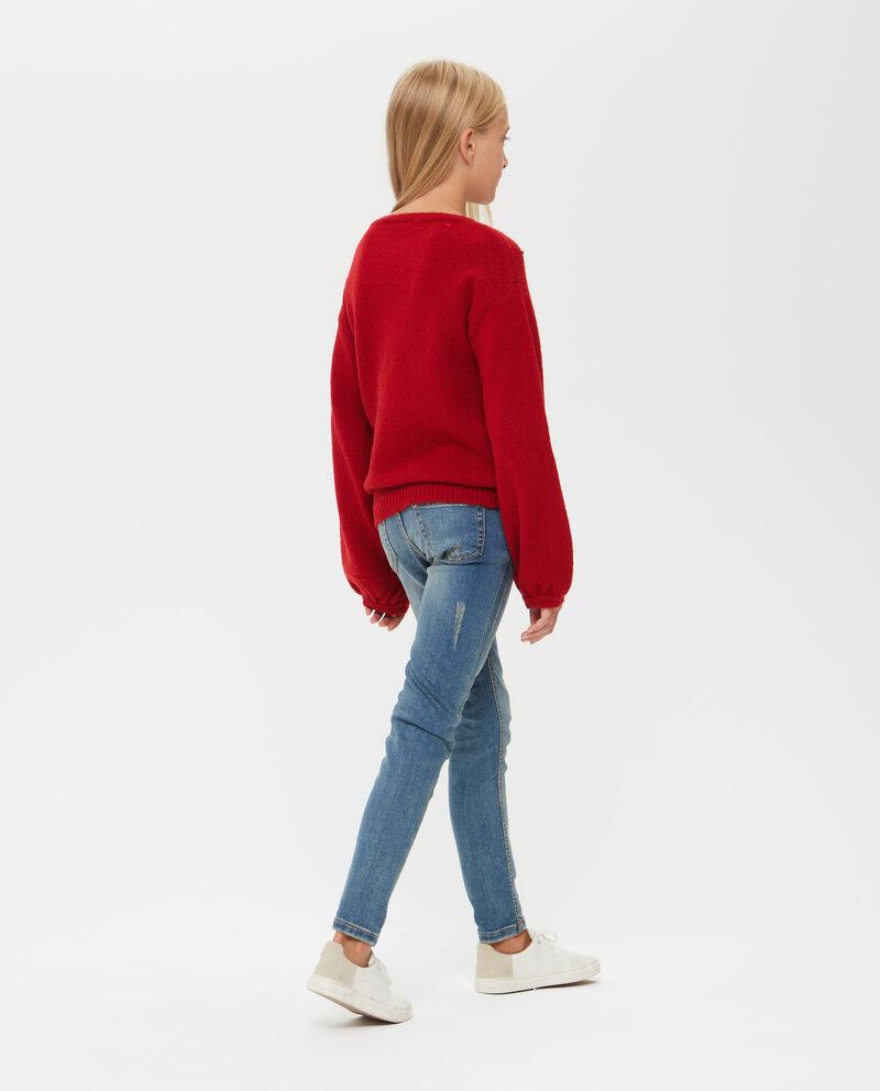 Pullover stretch con perline e borchie