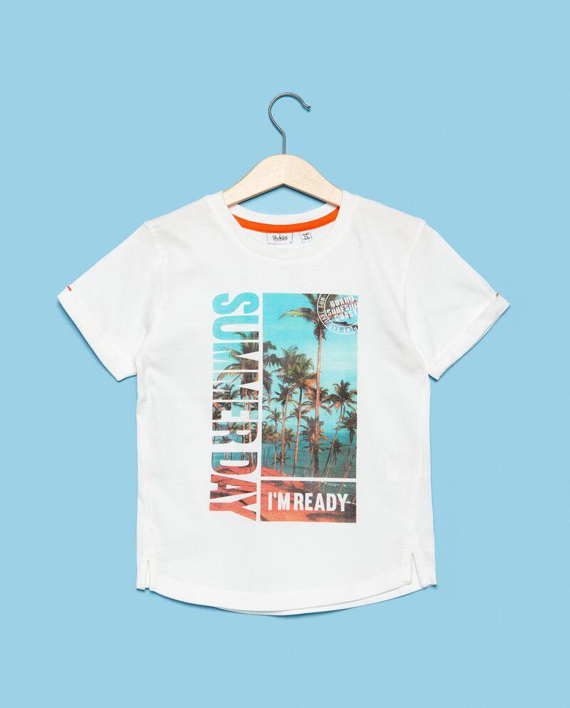 T-shirt in puro cotone con stampa palme bambino
