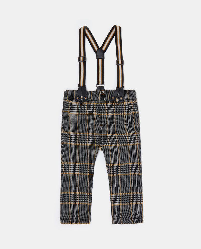 Pantaloni a quadri con bretelle neonato