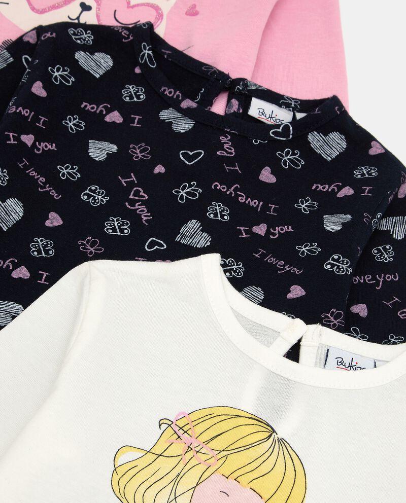 Pack con 3 t-shirt di cotone elasticizzato neonata single tile 1
