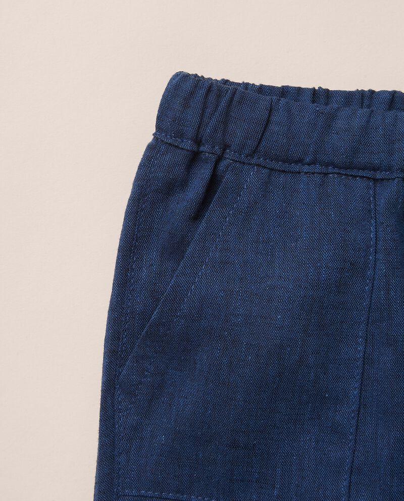 Pantaloni tinta unita in misto lino MADE IN ITALY single tile 1