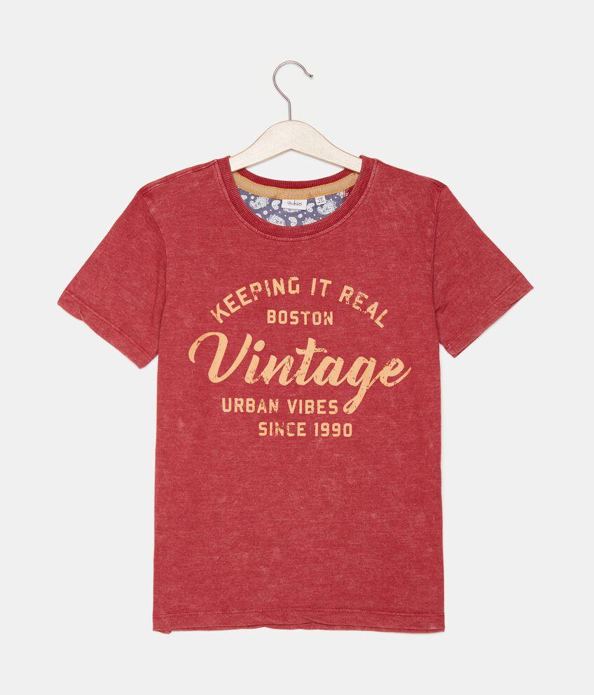 T-shirt lavaggio stone in cotone organico jersey ragazzo