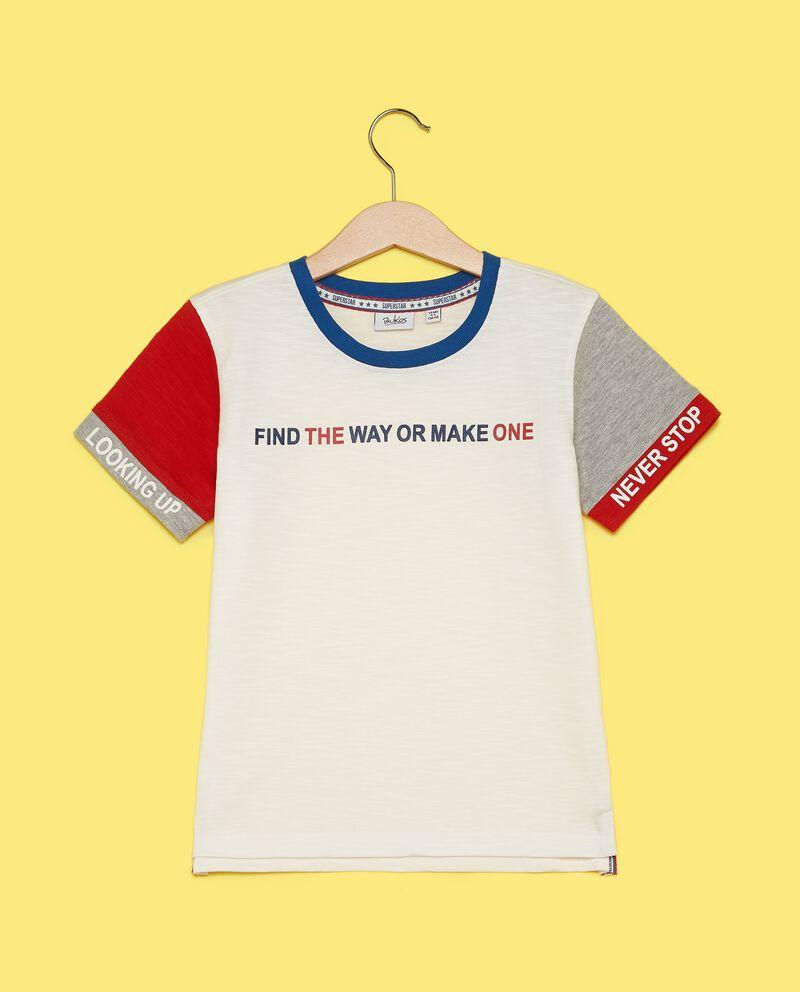 T-shirt in puro cotone con maniche a contrasto bambino