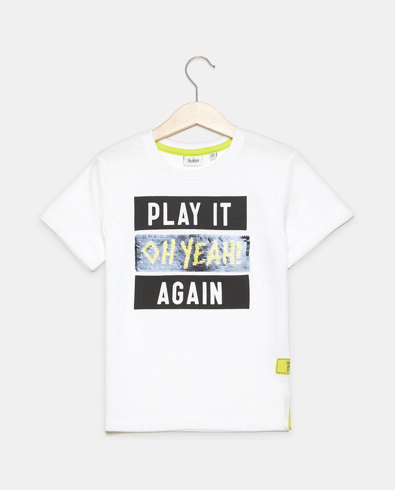 T-shirt girocollo in puro cotone con paillettes bambino