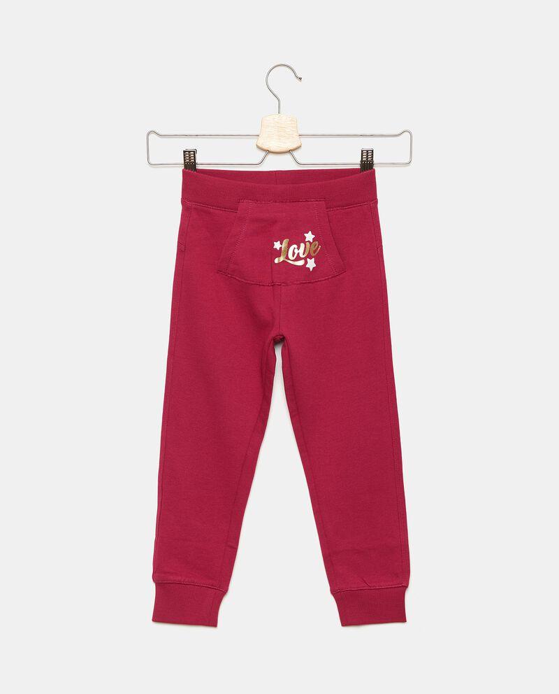 Pantaloni con tasca marsupio in puro cotone bambina
