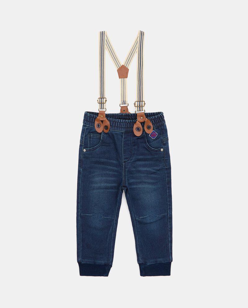 Pantalone in denim con bretelle neonato cover