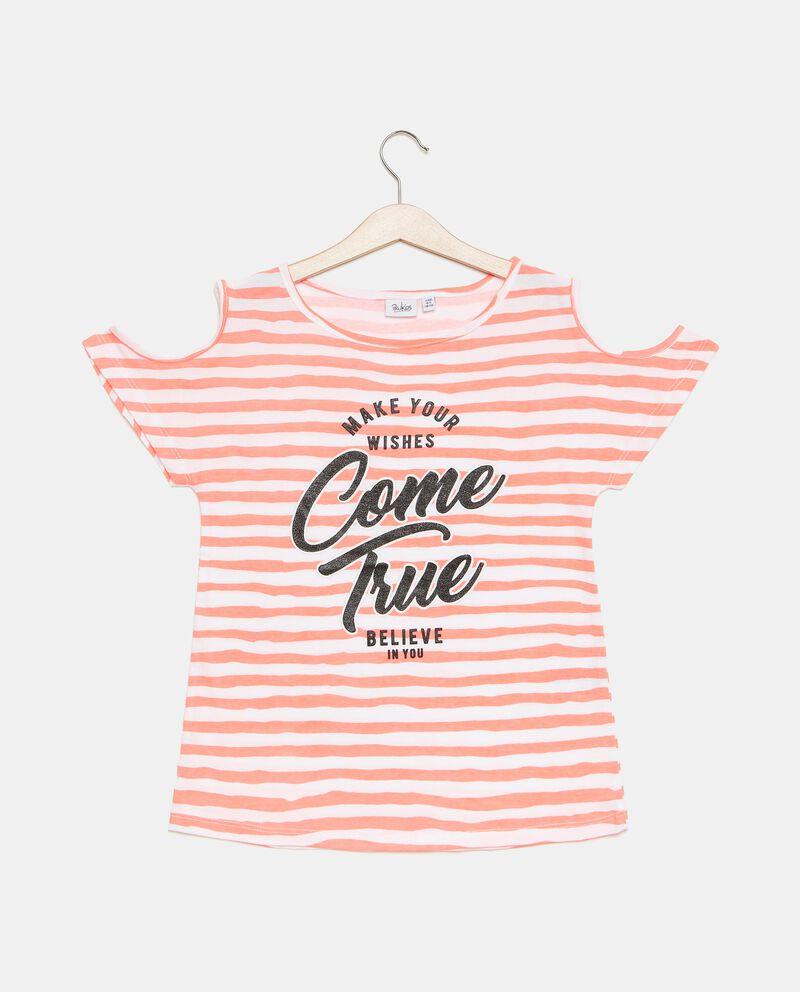 T-shirt in jersey cotone organico con shoulder off ragazza