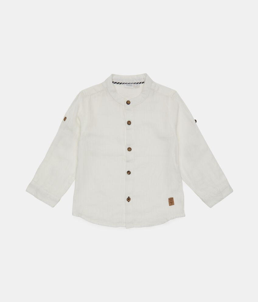 Camicia coreana neonato in cotone biologico misto lino double 1