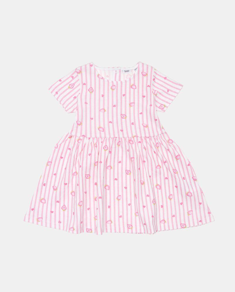 Vestito rigato di cotone organico con stampa neonata