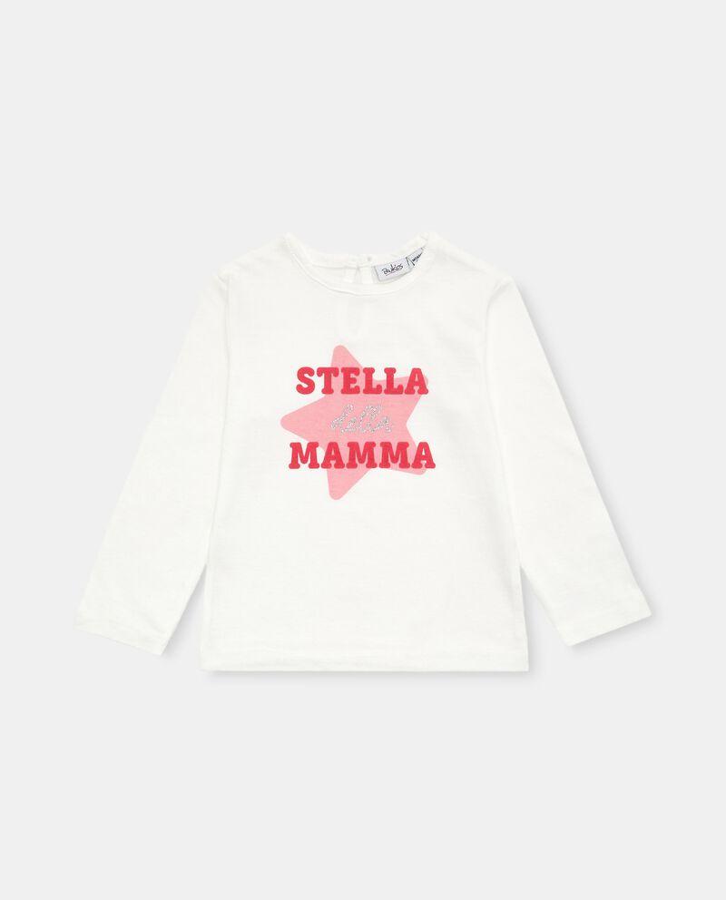 T-shirt in cotone con stampa glitter neonata cover