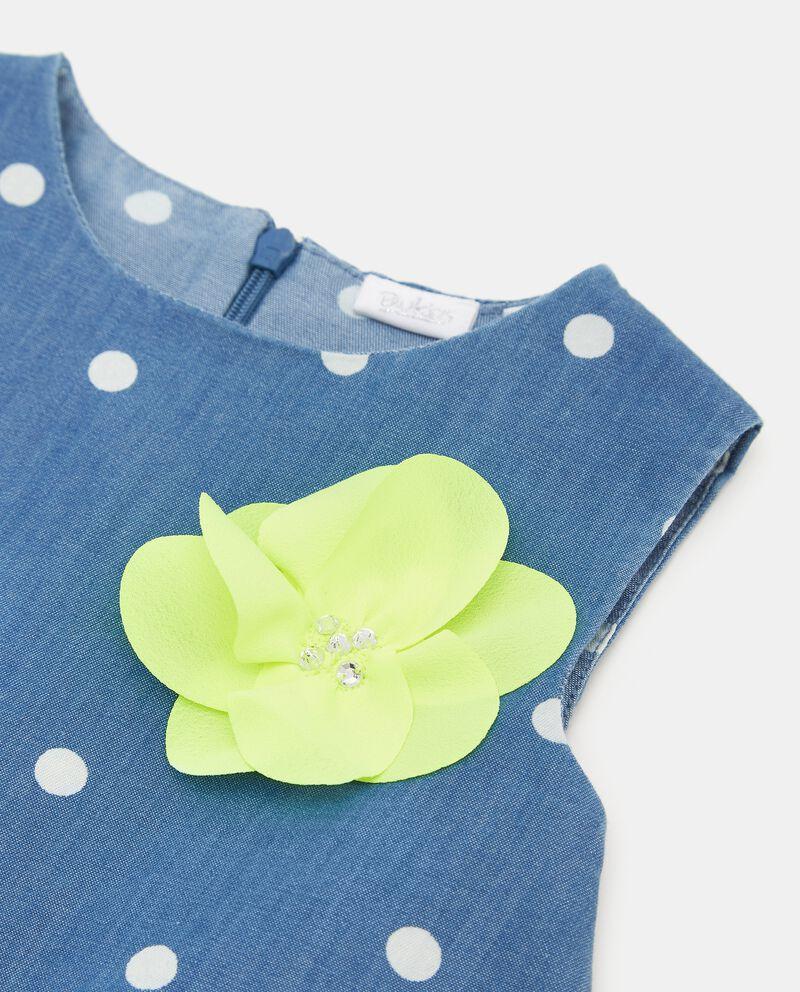 Vestito denim con motivo a pois in cotone organico neonata single tile 1