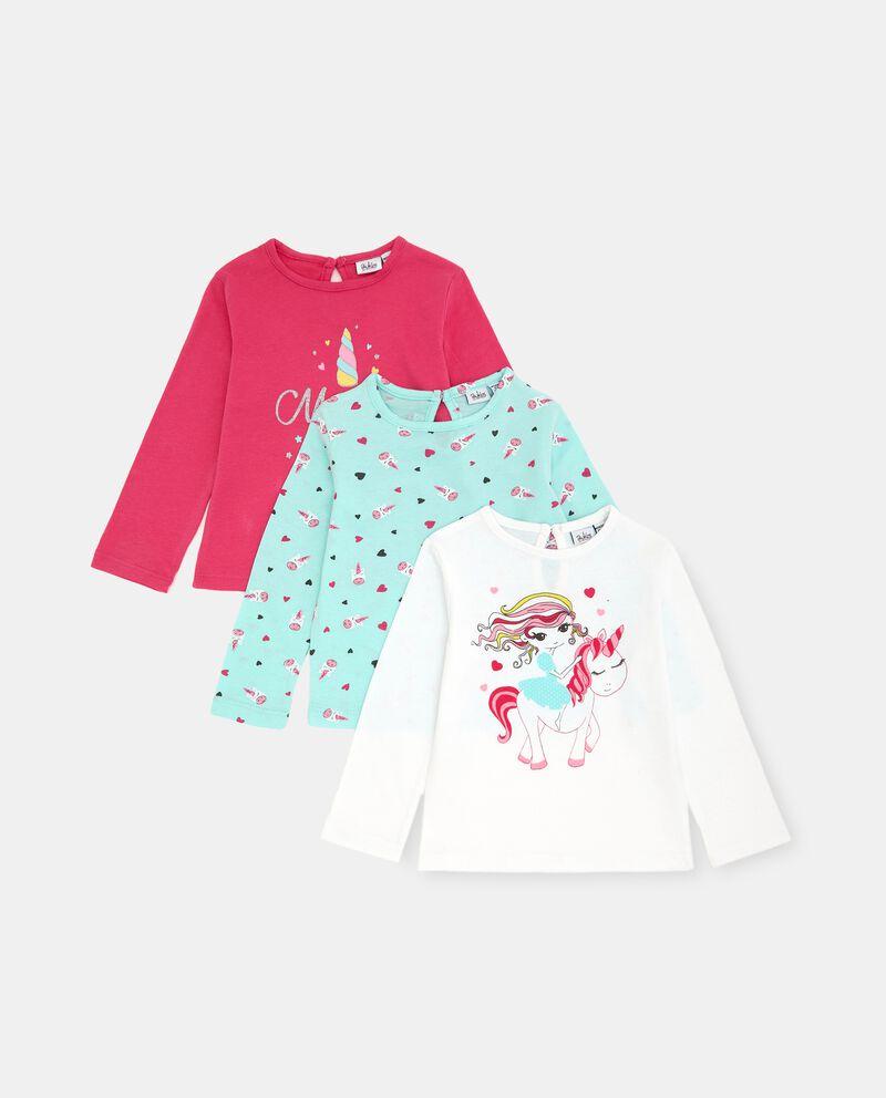 Pack con 3 t-shirt in cotone elasticizzato neonata cover