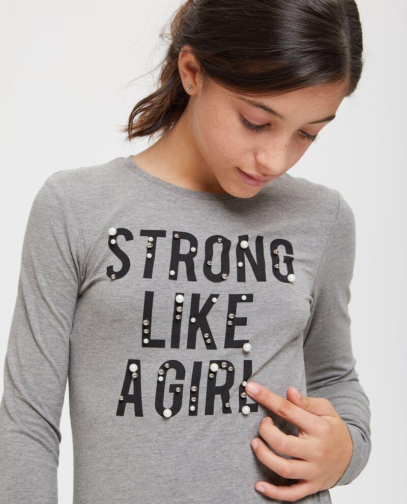 T-shirt mélange lettering e perline