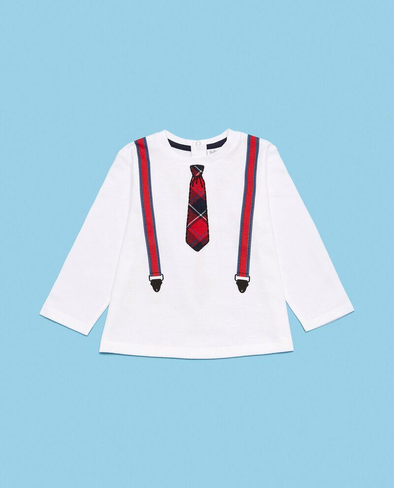 Maglia in puro cotone biologico con stampa bretelle e cravatta neonato cover