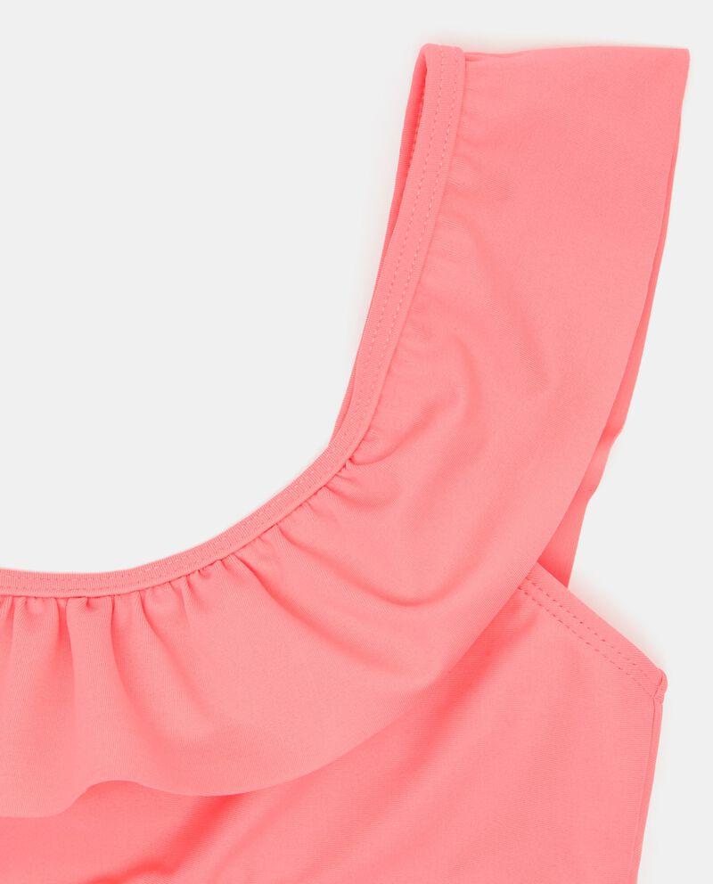 Bikini rosa in tinta unita con volant ragazza