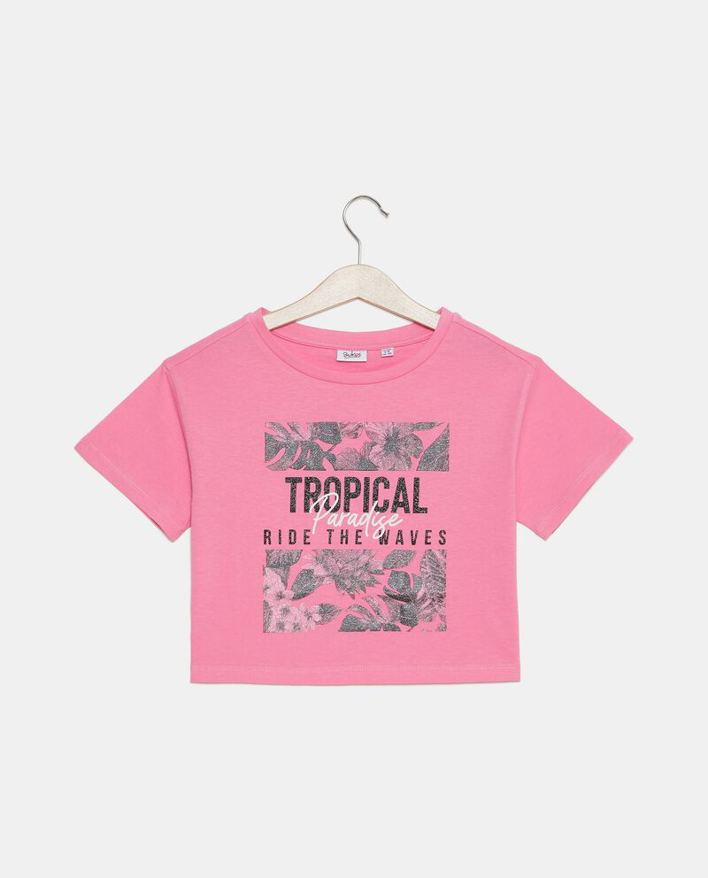 T-shirt cropped in jersey stretch ragazza cover