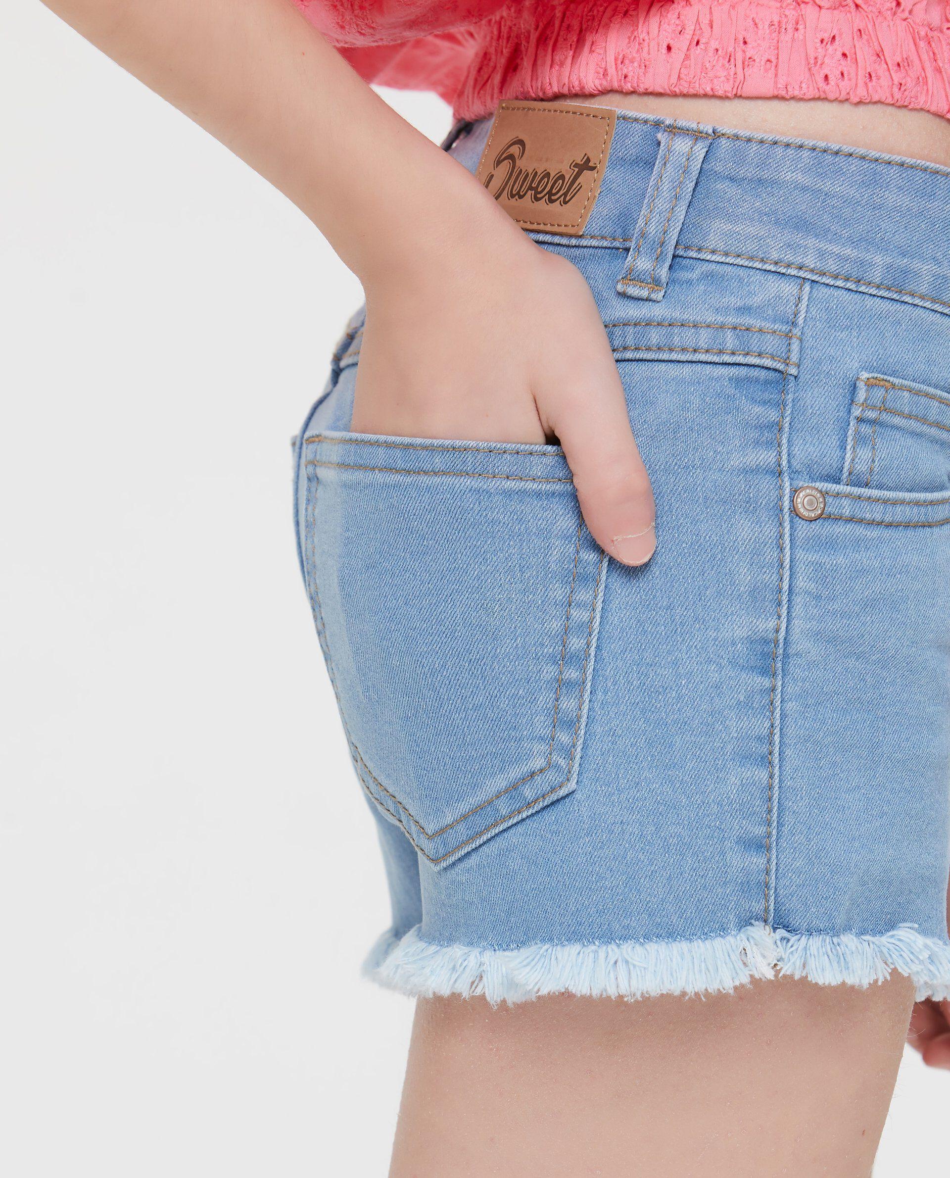 Shorts in denim sbiancato