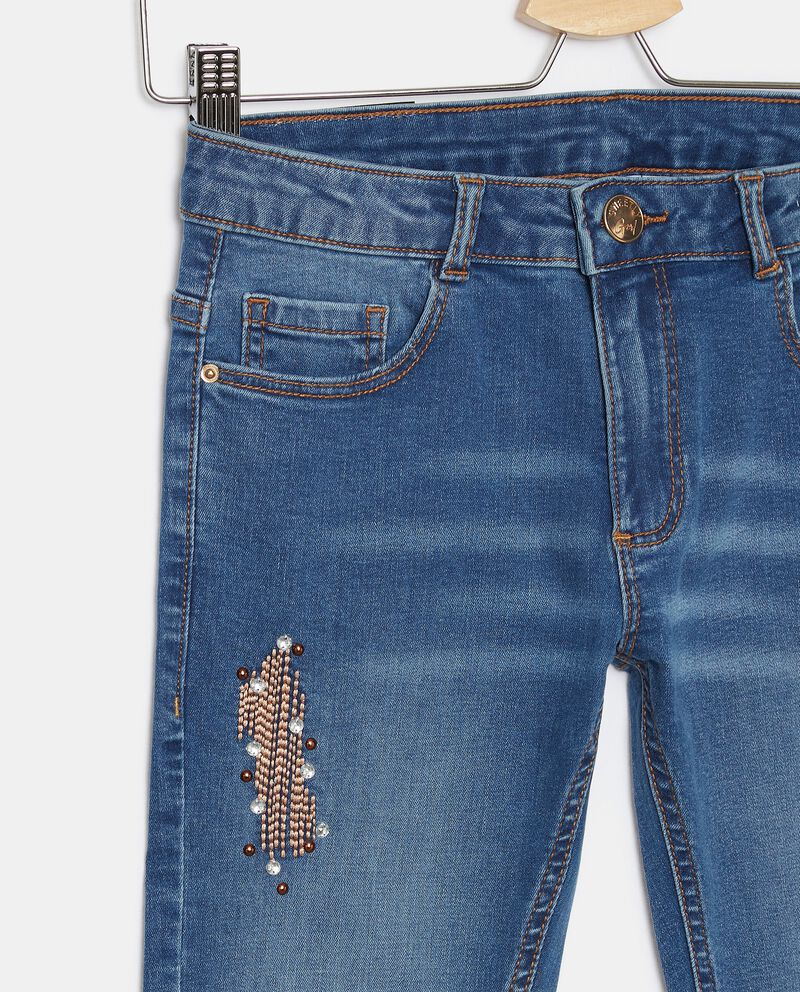 Jeans stretch con ricami ragazza single tile 1