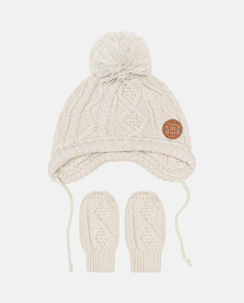 Set con berretto e manopoline in maglia neonato cover