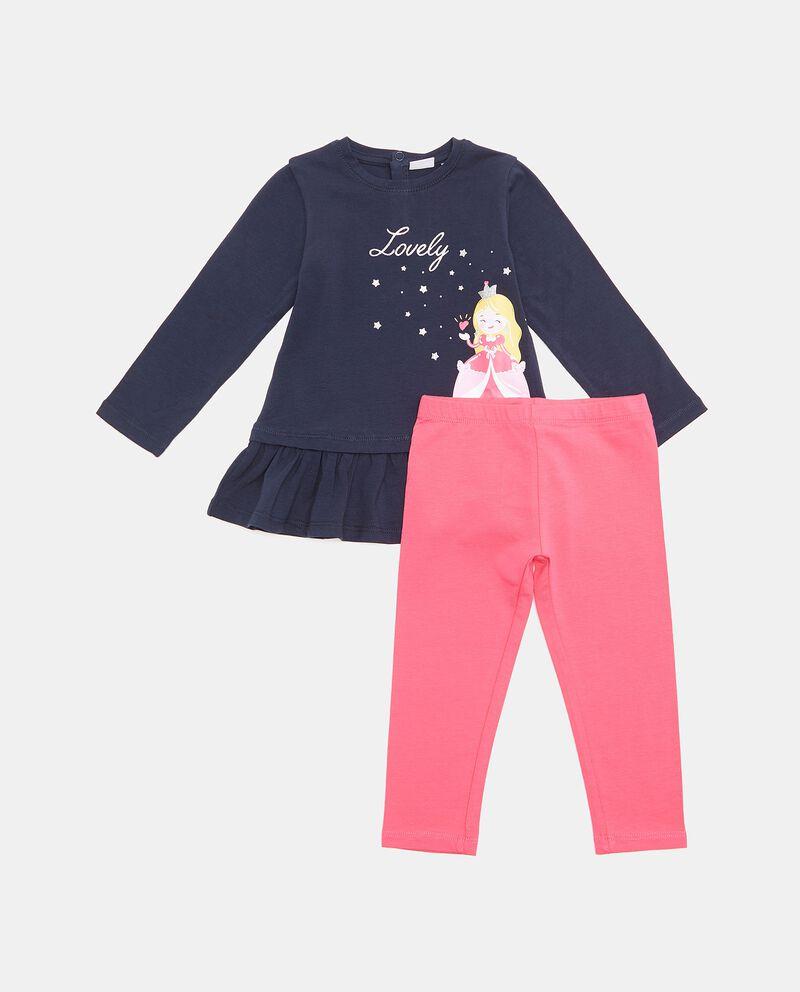 Set jogging con maglia e leggings in cotone biologico neonata