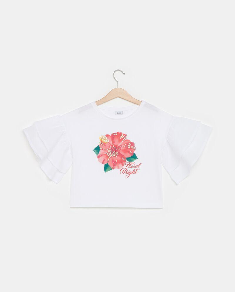 T-shirt in puro cotone con maniche a balze ragazza