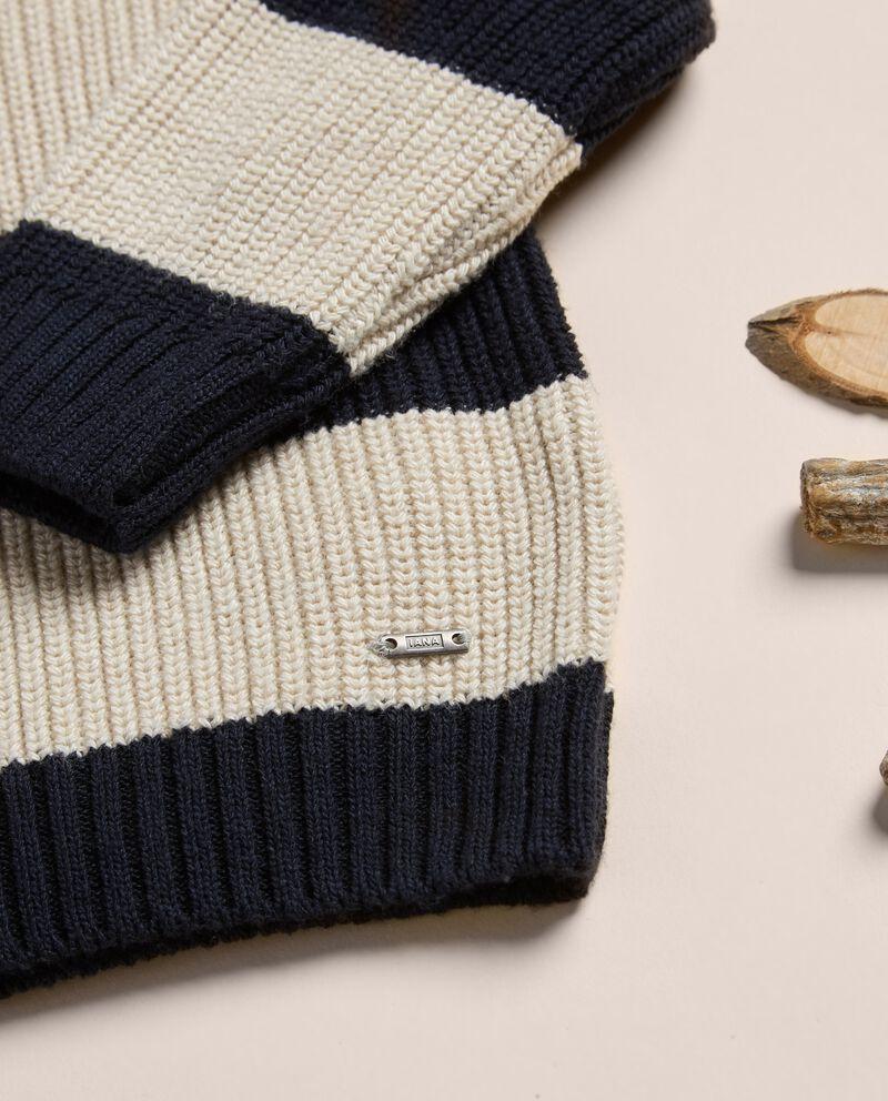 Maglioncino a righe misto lana e cotone IANA single tile 1